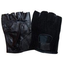 Luvas de condução de couro de pele de carneiro sem dedos dos homens moda (yky5024)