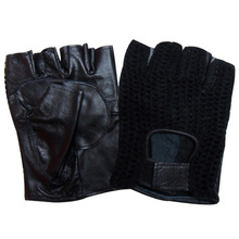 Мужская мода без пальцев овчины кожаные перчатки для вождения (YKY5024)