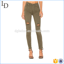 Áreas de joelhos angustiado mulheres leggings lápis calças mulheres leggings calças lápis