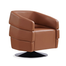 Luxury Type Single Seater Brown Leather Office Swivel Sectional Sofa