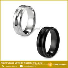 Anel da faixa do canal da eternidade / anel de dedo dos homens 8MM de aço inoxidável