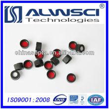 Septo de silicone vermelho ptfe de 13 mm com tampa superior aberta de parafuso preto pré-montado