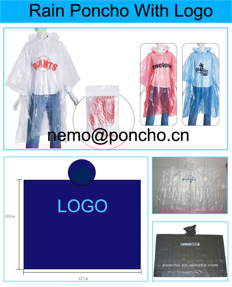 disposable raincoat with different logo
