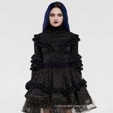 PUNK RAVE girls sexy lolita series mesh shirt women evening lace insert bodycon wholesale black shiffon shirt blouse
