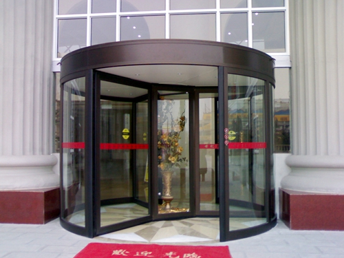 Ningbo GDoor Three-wing Automatic Revolving Doors with Curved Wall and Doorsets