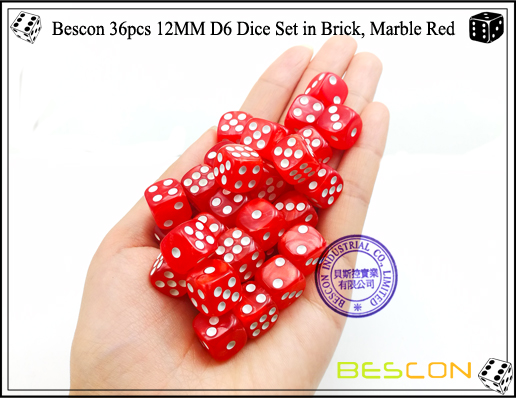 Bescon 36pcs 12MM D6 Dice Set in Brick, Marble Red-4