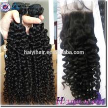 Wholesale Price Human Virgin Hair 4*4 Malaysian Virgin Hair Curly Lace Closure Piece