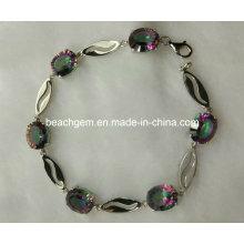 Мода браслет серебряный Мистик Топаз ювелирные изделия (BR0029)