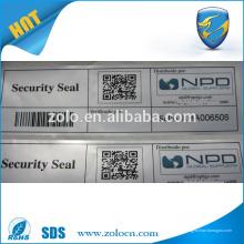 Garantia de segurança de falsificação de impressão personalizada Etiqueta VOID com código de barras com código QR adesivos
