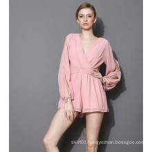 OEM 100% Chiffon Ladies Romper Sexy Long Sleeve Women Jumpsuite