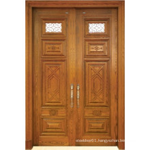 Classic Style Double Solid Wood Door with Glass