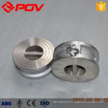 Material de acero inoxidable La oblea de doble placa conecta la válvula de retención de la aleta