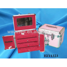 aluminum hair stylist beauty cases with 3 drawers inside from China manufacturer