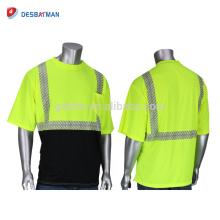 Chine Nouveau Mens Salut Crew Neck jaune et noir sécurité T-shirt ANSI Classe 2 réfléchissant manches courtes Workwear HAUTE VISIBILITÉ