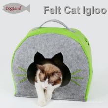 Natureza Felt Cat Igloo Casa Inverno Animal de Estimação Cave com almofada removível