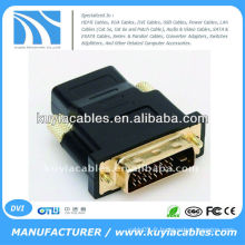 Adaptateur / convertisseur femelle DVI d'or DV à HDMI