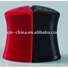 Schwarze und rote Farbe Keramik Salz und Pfeffer JX-22BR