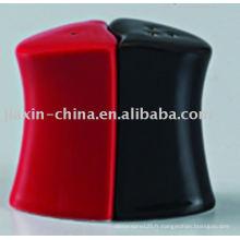 Sel et poivre céramique noir et rouge JX-22BR