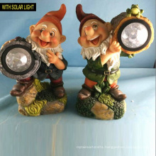 Popular Polyresin Garden Decoration Dwarf with Solar Light 2 Asst