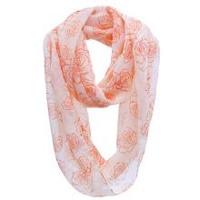 Girls Fashion Rose Printed Polyester Chiffon Infinity Spring Scarf (YKY1109)