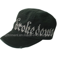 Grinding Washed Rhinestone Leisure Army Military Cap (TRM007)