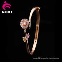 Heart Flower Design Fashion Charm Copper Jewelry Bangles