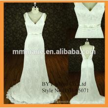 Novos padrões de vestidos de noiva de designer v decote baixo vestido de noiva de renda de renda de sereia