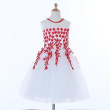 Vestido blanco / rojo de la muchacha de flor para la boda y ceremonial
