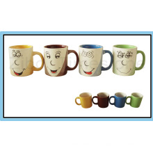 9oz Porzellan drei Farbe Kaffeetassen (CM612059)