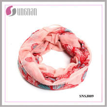 2015 Butterfly Pattern Printed Fashion Voile Infinity Scarf (SNSJ009)