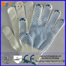 Einseitige PVC-punktierte Naturstrick-PVC-gepunktete Handschuhe