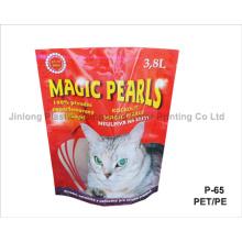 Paquet de litière pour chat avec fermeture à glissière