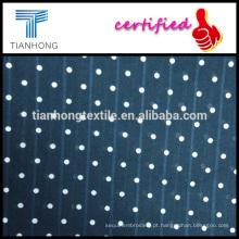 fundo azul com polk-bolinha branca ao longo de 100 algodão maquineta tecido jacquard para o vestido das mulheres