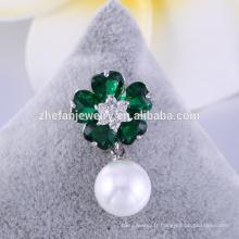 Meilleure vente Broche en tissu fleur attrayant avec perle, broche perle pas cher à vendre