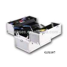 2014 caja de herramientas de aluminio fuerte con 4 bandejas de plástico y compartimientos ajustables en la parte inferior caso