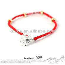 Дешевые серебряные украшения красный плетеные веревки браслет для девочек