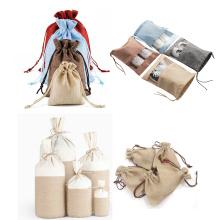 Factory promotional stock Storage drawstring bag printed logo linen bundle pocket