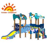 Aire de jeux extérieure colorée double pour les enfants