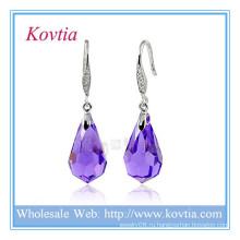 Мода ювелирных изделий фиолетовый кристалл модной одежды стерлингового серебра 925 серьги