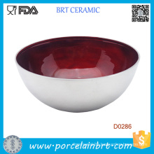 Deep Botttom Red Glazed Inside Ceramic Salad bowl