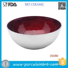 Глубокий Красный Botttom застеклен внутри керамический салатник