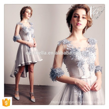 Elegante Short Sleeve Front Curto Curto Long Grey Floral Evening Prom Party Dress Evening Gown