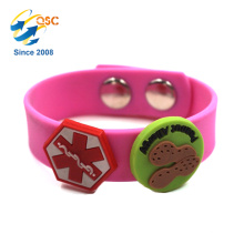 Adjustable kids silicone bracelet with PVC buckle