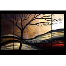 5 paneles hechos a mano paisaje pintura al óleo sobre lienzo
