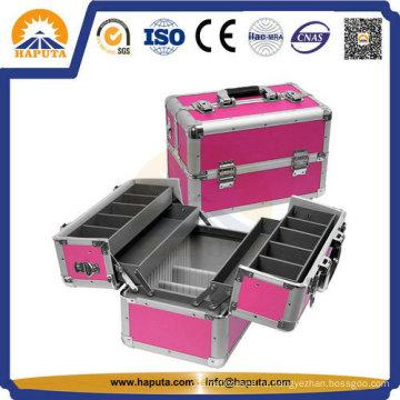 Модная алюминиевая косметическая коробка для макияжа с лотками Hb-3210