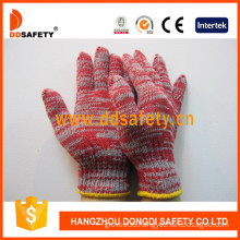 Red&Grey Mixed Cotton/Polyester, 7 Gauge String Knitted Gloves (DCK512)