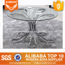 european style high quality round glass top stainless steel base side coffee table