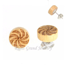 Diseño de logotipo personalizado Pendientes de madera Pendientes de acero único 316L