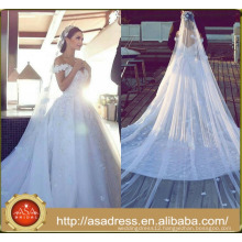 ASWY07 Luxury 3D Flowers Cathdral Train Ball Gown Wedding Dress 2016