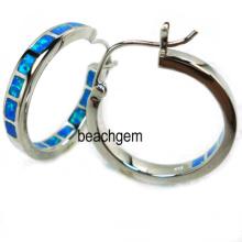 Opale argent boucles d'oreilles bijoux (YE00040)